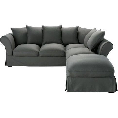 6 Seater Cotton Corner Sofa Bed In Slate Grey Roma
