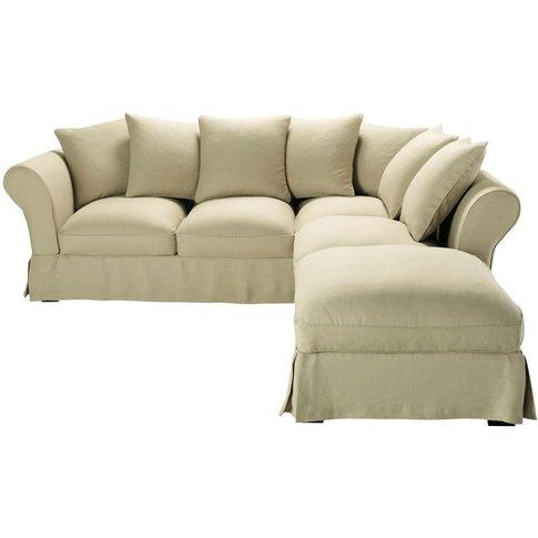 6 Seater Linen Corner Sofa Bed In Beige Roma