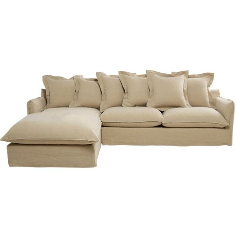 6-Seater Washed Linen Left-Hand Corner Sofa Bed Barc...
