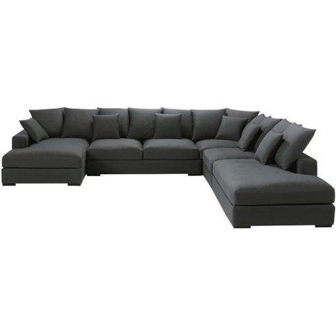 7-Seater Cotton Modular Corner Sofa In Grey Loft