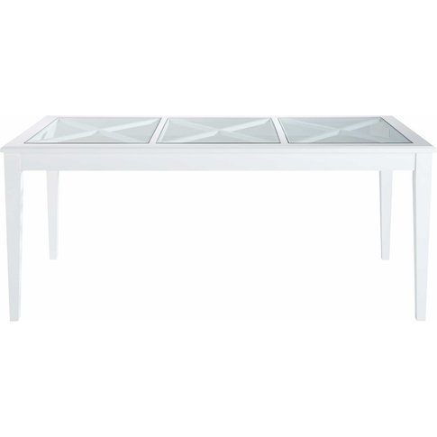 8-Seater White Pine And Tempered Glass Dining Table ...