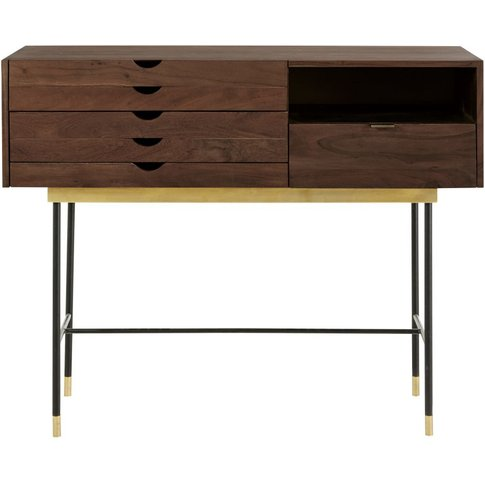 Acacia And Metal 4-Drawer Console Table Sterling