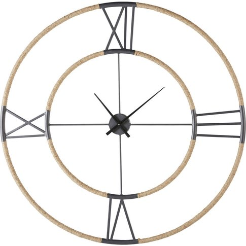 Aged-Effect Black Metal And Rope Clock D103