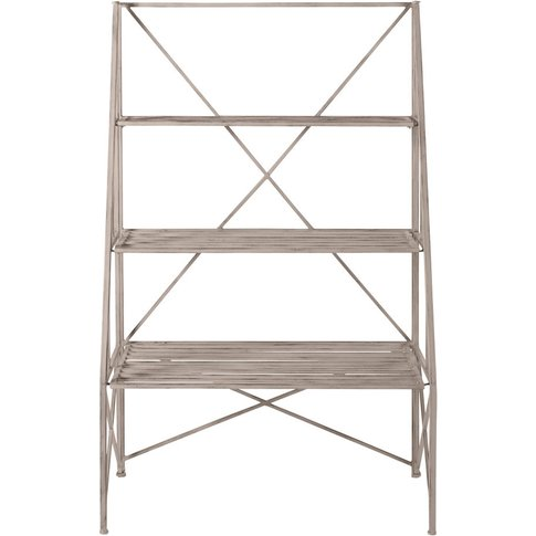 Aged-Effect Light Grey Metal Shelving Unit