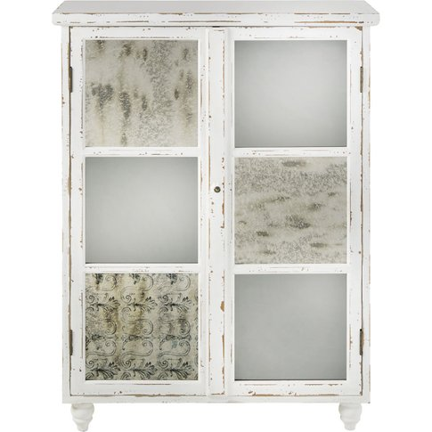 Aged Effect White 2-Door Storage Cabinet Faustine