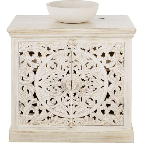 Aged Effect White Carved Solid Mango Wood Vanity Uni...