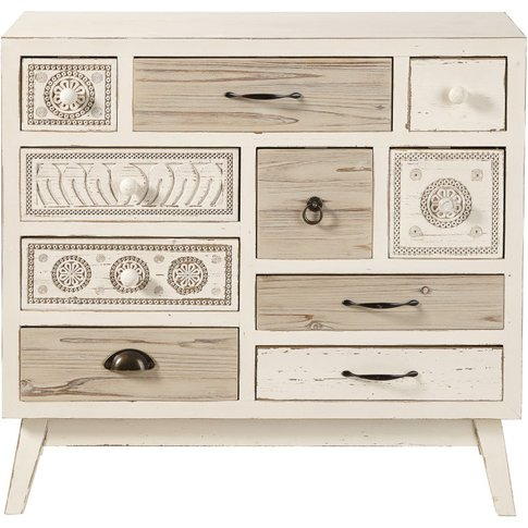 Aged Effect White Fir 10-Drawer Storage Cabinet Rumba