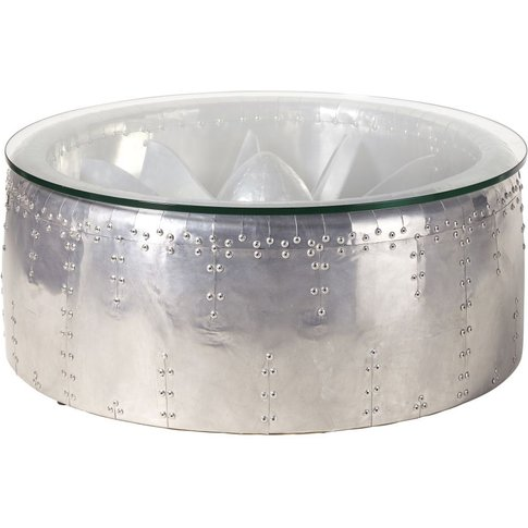 Aluminium and Glass Round Industrial Coffee Table Tyler