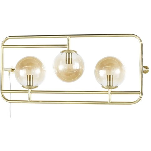 Amber Glass And Golden Metal 3-Globe Wall Light