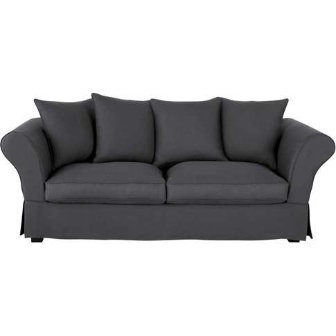 Anthracite Grey 3/4-Seater Linen Sofa Bed Roma