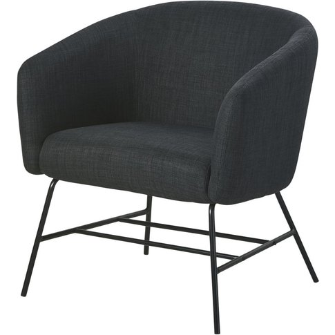Anthracite Grey And Black Metal Armchair Paula