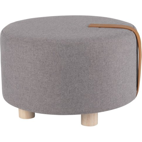 Anthracite grey footstool with pine legs
