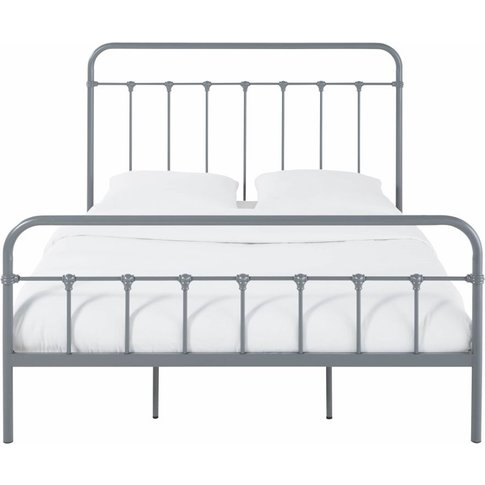 Anthracite Grey Metal Bed with Bars 140X190 Karl