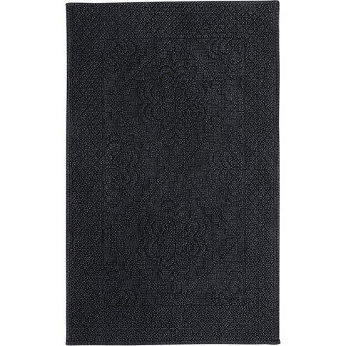 Anthracite Grey Tufted Cotton Bath Mat 65x100