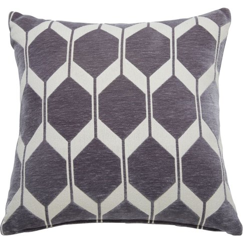 Anthracite Grey Velvet Cushion with Jacquard Print 6...