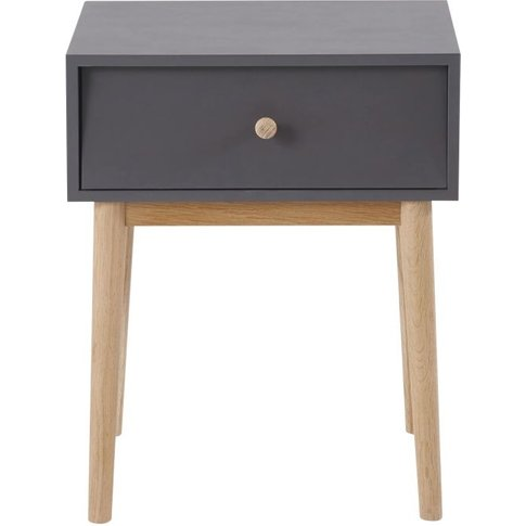 Anthracite Grey Vintage 1-Drawer Bedside Table Zen M...