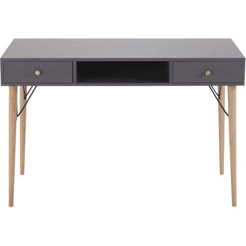 Anthracite Grey Vintage 2-Drawer Desk Zen Market