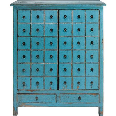 Antique blue pine 2-door, 2-drawer cabinet Baho