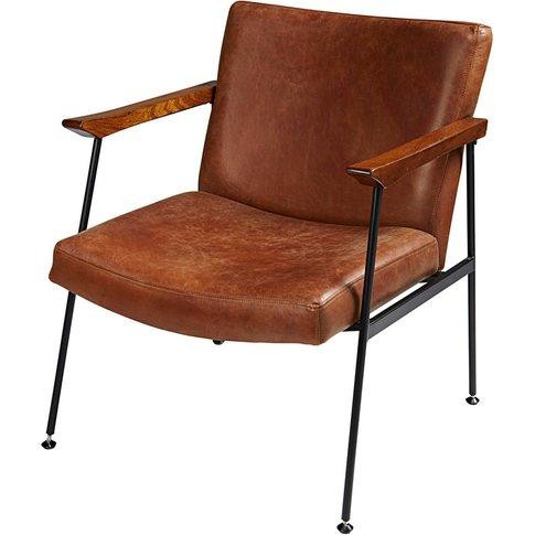 Antique brown calfskin armchair Blake