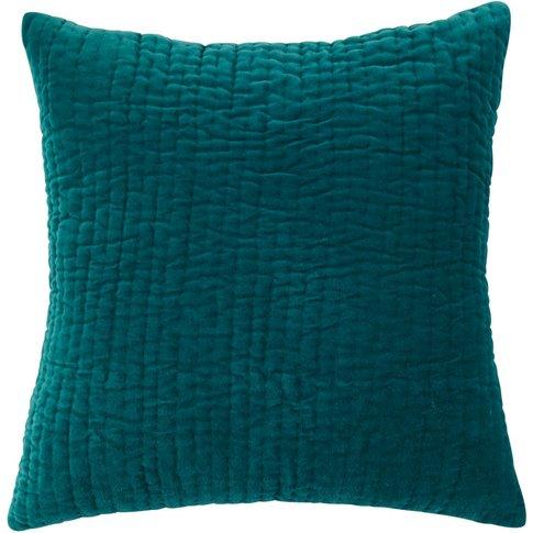 AQUA piqué velvet cushion in blue 60 x 60cm
