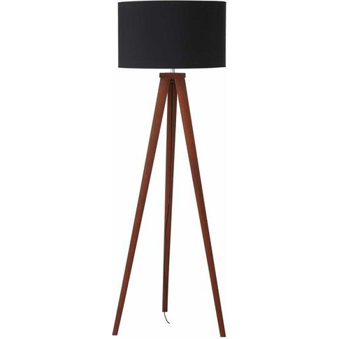 Ash Tripod Floor Lamp with Black Shade H155