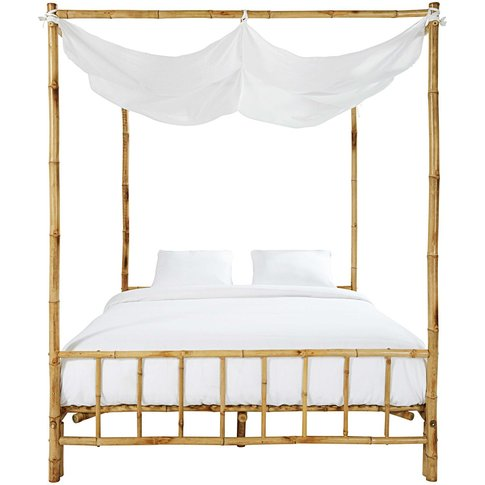 Bamboo And White Fabric 160 X 200 Four-Poster Bed Coconut