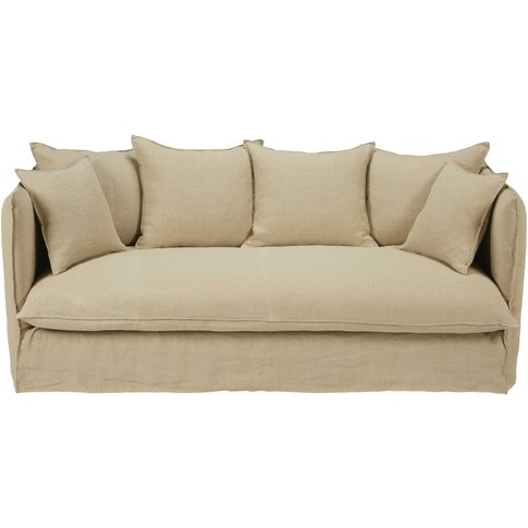 Beige 3/4-seater washed linen sofa bed Louvre