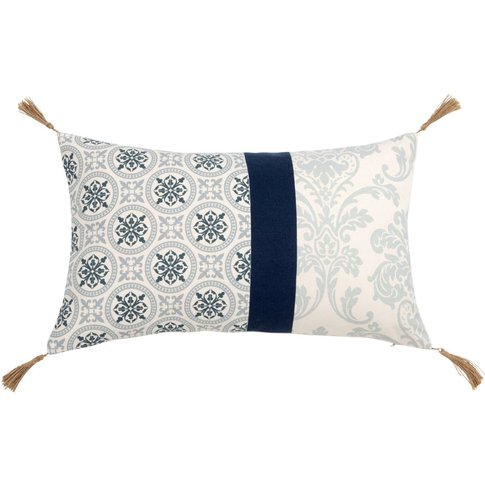 Beige And Blue Patterned Cotton Cushion Cover 30x50