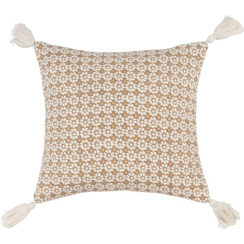 Beige And Gold Cotton Cushion Cover With White Flora...