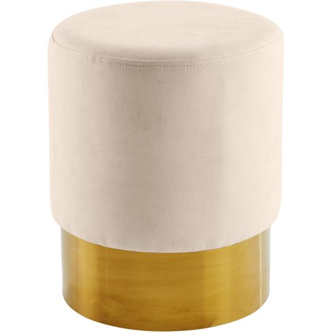 Beige and Gold Metal Stool