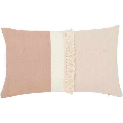 Beige And Old Rose Cotton Cushion Cover 30x50