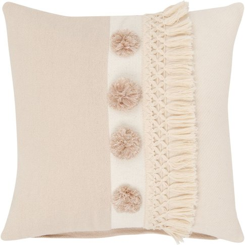 Beige And Old Rose Cotton Cushion Cover 40x40