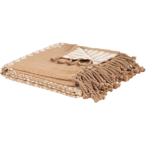 Beige Cotton Blanket With Woven Ecru Graphic Print 1...