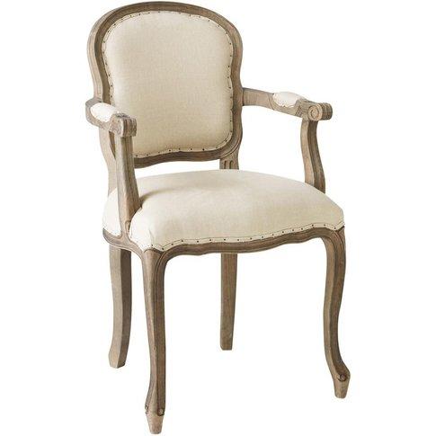 Beige Linen Cabriolet Armchair Versailles