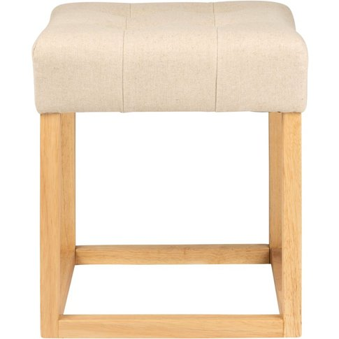 Beige Tufted Cotton Stool