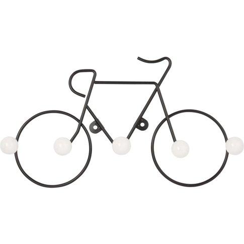 Bicycle 5-Hook Black Metal And White Ceramic Coat Rack