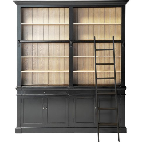 Black 2-Drawer 4-Door Bookcase With Ladder Versailles