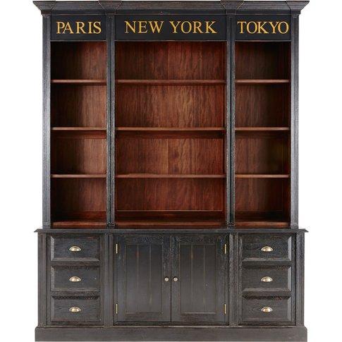Black 3-Drawer 2-Door Bookcase Haussmann
