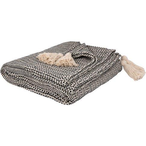 Black And Ecru Fringed Cotton Blanket 160x210