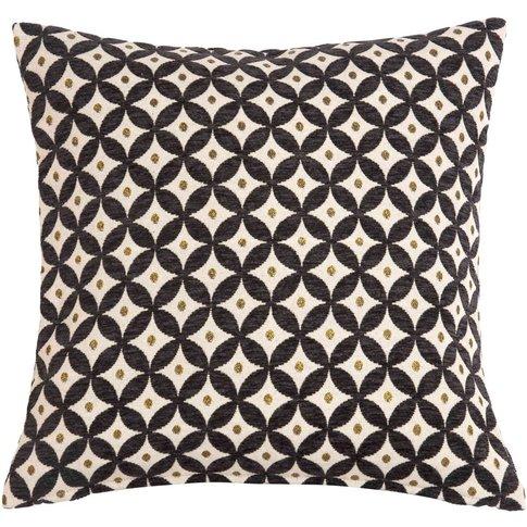 Black and Ecru Jacquard Design Cushion 40 x 40 cm
