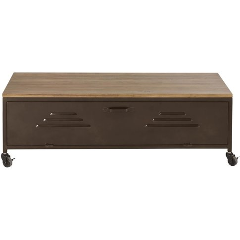 Black And Fir Wheeled Coffee Table Wayne