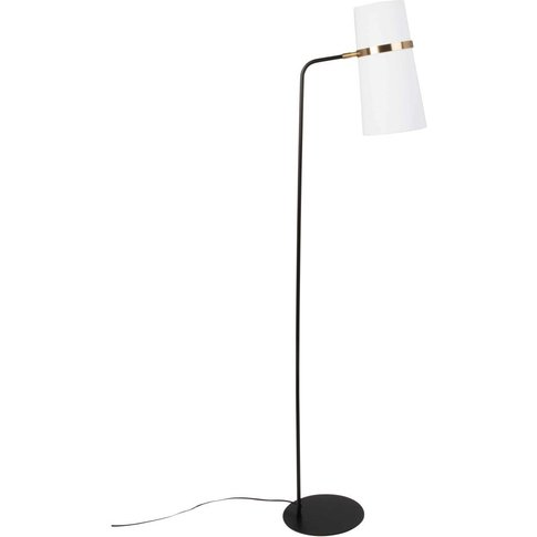 Black And Gold Metal Floor Lamp With Ivory Shade H150