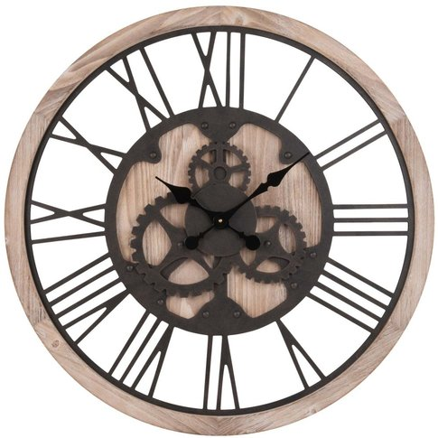 Black And Natural-Coloured Gear Wheels Clock D79