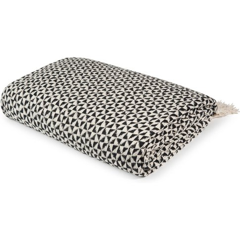 Black And White Cotton Blanket With Graphic Motifs 1...