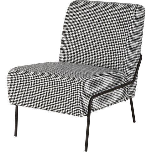 Black and White Houndstooth Print Armchair Silver