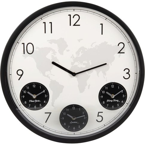 Black And White Metal 4-Dial Clock D48