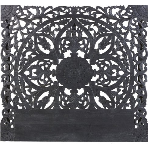 Black Carved Solid Mango Wood 180 Headboard Kerala