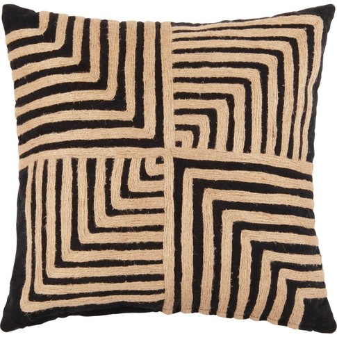 Black Cotton And Jute Cushion Cover 40x40
