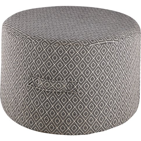 Black Cotton Pouffe With Ecru Jacquard Motifs Boreal