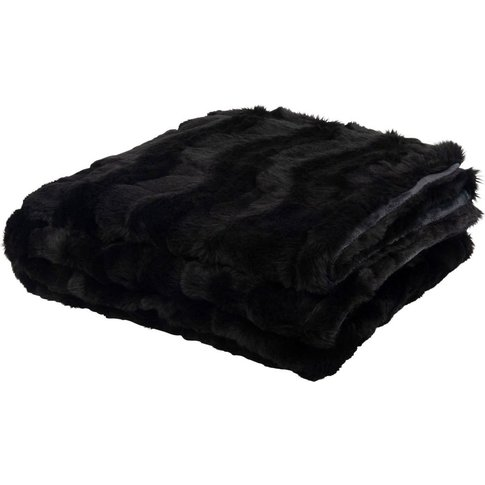 Black Faux Fur Blanket 125x150